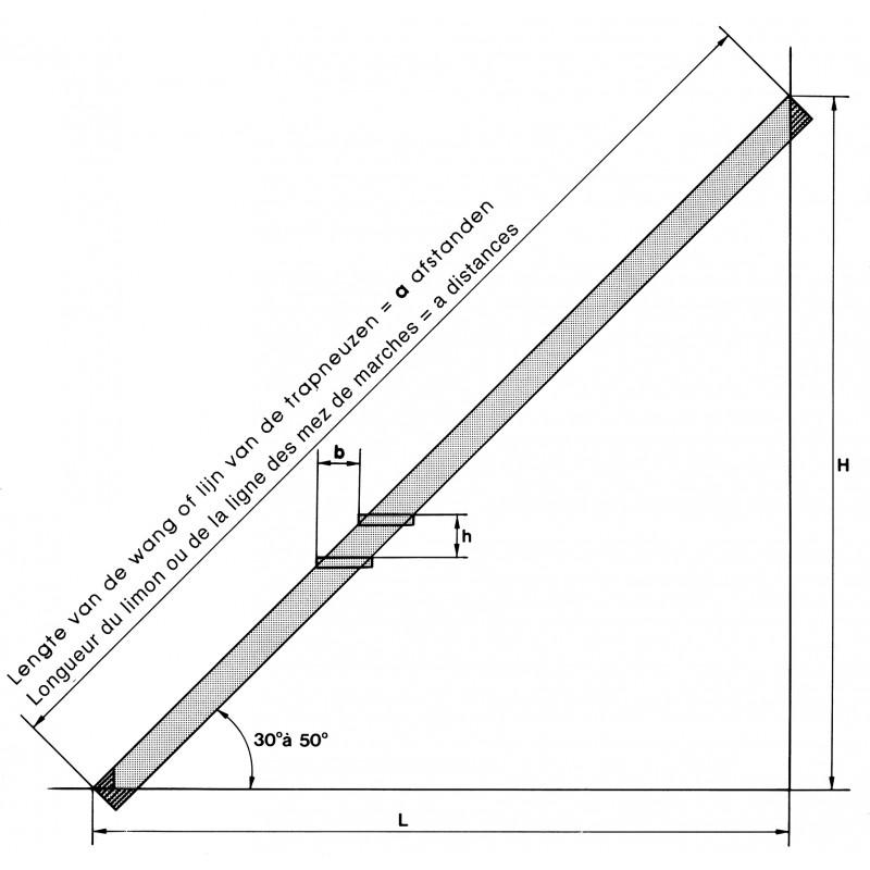 Limon galvanis pr for 3m05 11 marches pour escalier droit for Longueur d un escalier
