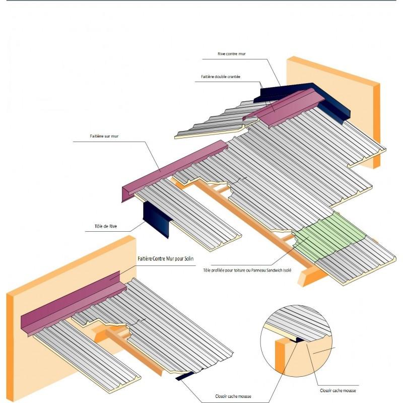 fa ti re crant e contre mur t le profil e bac acier ral5008 bleu nuit. Black Bedroom Furniture Sets. Home Design Ideas
