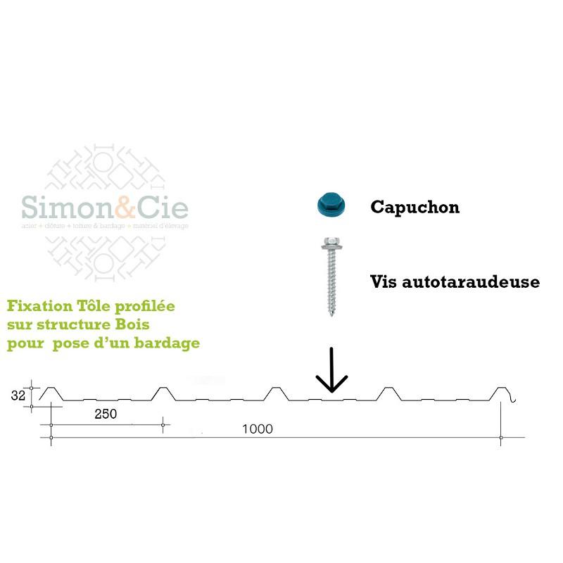 Vis autotaraudeuse 6.5 x 38 Bois pour Tôles de Bardage - Par 100 pièces