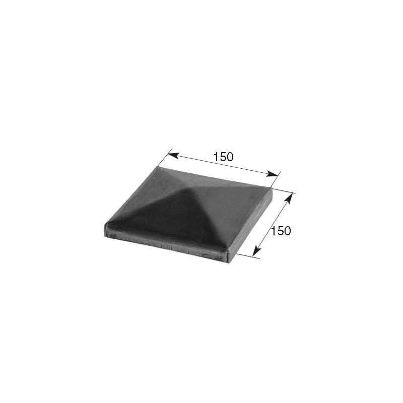 Chapeau en acier 150x150mm forme pyramidale pour poteau acier carré