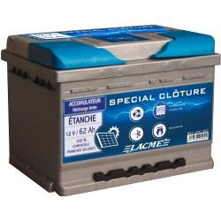 Batterie Clôture LACME étanche 12V-62 Ah à décharge lente