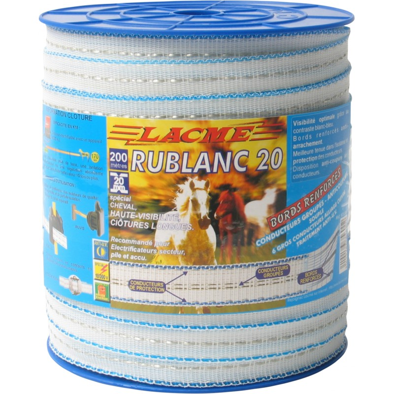 Ruban cl tures chevaux rublanc 20mm 200m lacme for Lacme clos 2000